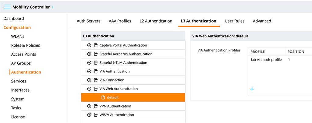 Aruba VIA VPN - VIA Web Authentication