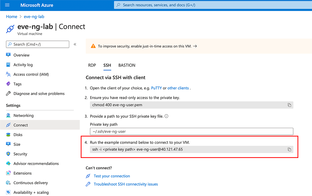 EVE-NG in Azure - Connect to VM